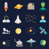 Space cosmos flat icons set Royalty Free Stock Photos
