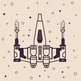 Space craft fighter jet futuristic icon drawing illustration Stock Photos