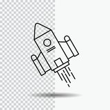 Space craft, shuttle, space, rocket, launch Line Icon on Transparent Background. Black Icon Vector Illustration. Vector EPS10 Abstract Template background royalty free illustration