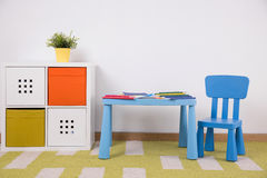 Space for creative child activity. Photo of neat furnished space for creative child activity stock photo