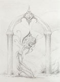 Space creature kneeling at sacred gate with crystal, original drawing on paper. transience and time concept. Stock Photo