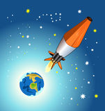 Space Day. Postcard day space with a rocket in the Royalty Free Stock Photography