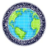 Space Debris. Illustration featuring cartoon Earth surrounded with space debris Royalty Free Stock Images