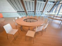 Space dedicated to educational workshops in the modern building. Trento, Italy - November 19, 2017: Space dedicated to educational workshops in the modern Royalty Free Stock Photo