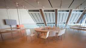 Space dedicated to educational workshops in the modern building. Trento, Italy - November 19, 2017: Space dedicated to educational workshops in the modern Stock Images