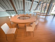 Space dedicated to educational workshops in the modern building. Trento, Italy - November 19, 2017: Space dedicated to educational workshops in the modern Royalty Free Stock Photography
