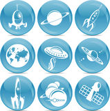 Space development icons in vector Royalty Free Stock Photography