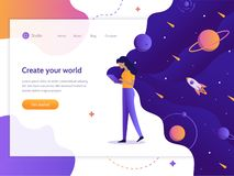 Space device web banner. Create your world. Web development. Girl holding a device in which space. Web banner design template. Flat vector illustration royalty free illustration