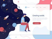 Space device web banner vector illustration