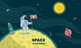 Space discoveries concept background, flat style royalty free illustration