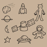 Space doodle cartoon Royalty Free Stock Image