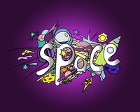 Space doodle. Colorful, cartoon space objects. vector illustration
