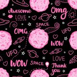 Space Doodle Dark Seamless Pattern. Vector pink hand drawn illustration isolated on black background. stock image