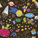 Space doodle seamless pattern Stock Photography