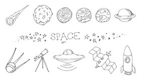Space doodle set Royalty Free Stock Photography