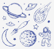 Space doodle set vector elements Royalty Free Stock Photography