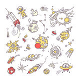Space doodles. Collection. Of funny free hand drawing of different space, universe real or unreal objects and creatures Stock Photo