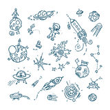 Space doodles. Collection. Of space, universe real or unreal objects and creatures Royalty Free Stock Photo