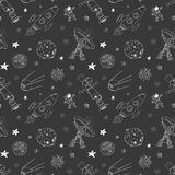 Space doodles icons seamless pattern. Hand drawn sketch with meteors, Sun and Moon, radar, astronaut rocket and stars. vector illu Royalty Free Stock Photos
