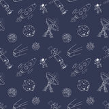Space doodles icons seamless pattern. Hand drawn sketch with meteors, Sun and Moon, radar, astronaut and rocket. vector illustrati Stock Image