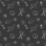 Space doodles icons seamless pattern. Hand drawn sketch with meteors, Sun and Moon, radar, astronaut and rocket. vector illustrati Royalty Free Stock Image