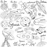 Space doodles icons set. Hand drawn sketch with Solar system, planets meteors and comats, Sun and Moon, radar, astronaut rocket an Stock Image