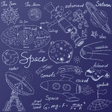 Space doodles icons set. Hand drawn sketch with Solar system, planets meteors and comats, Sun and Moon, radar, astronaut rocket an Stock Photos