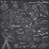 Space doodles icons set. Hand drawn sketch with Solar system, planets meteors and comats, Sun and Moon, radar, astronaut rocket an Royalty Free Stock Image