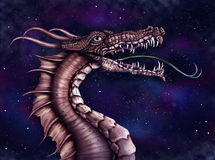 Space Dragon. Illustration of a fierce dragon with a star filled night sky Stock Photos