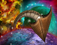 Space with dragon tail. Stock Photo