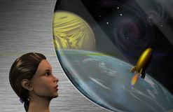 Space Dreams. Woman dreaming on space travel. Human elements were created with 3D software and are not from any actual human likenesses stock illustration