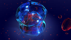 Space drink. Computer rendered image of a drinkin glass exploding with a red liquid inside royalty free illustration