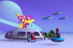 Space Eats. 3D science fiction Toys enjoy a gathering at the Space Eats Vector Illustration