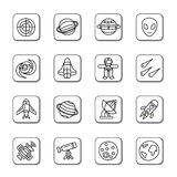 Space Element Doodle Icons. A collection of different kinds of space element doodle icons. It contains hi-res JPG, PDF and Illustrator 9 files Stock Photos