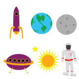 Space elements. Illustration of different space elements: Earth, the moon, the sun, an astronaut, a rocket ship and an alien flying saucer Royalty Free Stock Image