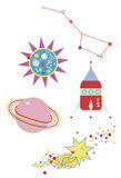 Space Elements. Colorful space elements for kids including a colorful comet, a cute childlishly drawn rocket and a funky Ursa Major Stock Photo