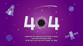 Space Elements `Black hole` Error 404 Page Design. A design for an error 404 page in a website. the design created based on the black hole theme and using some stock illustration