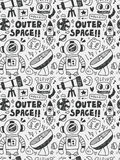 Space elements doodles hand drawn line icon, eps10 Stock Photography