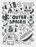 Space elements doodles hand drawn line icon, eps10 Royalty Free Stock Photo