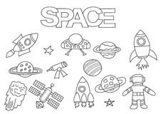 Space elements hand drawn set. Coloring book template.  Outline doodle. Elements vector illustration. Kids game page Stock Photo