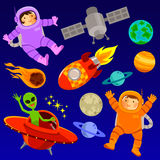 Space elements. Set of cartoon space elements and two happy astronauts Royalty Free Stock Photo