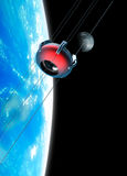 Space elevator in orbit with moon. Stock Photography