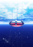 A space elevator is seeing rising into earth orbit Stock Images