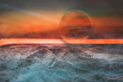 Space, exoplanet. Fantastic landscape. View from the orbit. The World of Ice and the World of Flame Royalty Free Stock Image