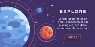 Space exploration banner flat illustration. Astronomy banner with planets. Space exploration banner flat illustration. Astronomy banner with colorful planets and stock illustration