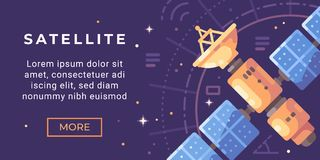 Space exploration banner flat illustration. Astronomy banner with a satellite. In space vector illustration