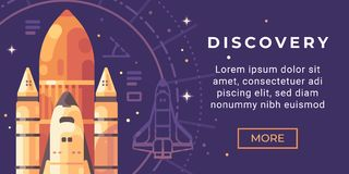 Space exploration banner flat illustration. Space discovery banner. With a shuttle background stock illustration