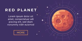 Space exploration banner flat illustration. Colorful Mars colonization banner. Space exploration banner flat vector illustration. Colorful Mars colonization vector illustration