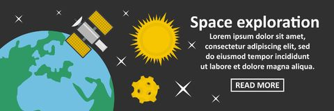 Space exploration banner horizontal concept Royalty Free Stock Photos