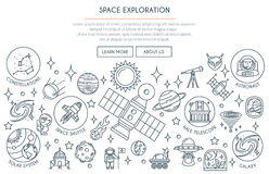 Space Exploration Banner 2. Space Exploration Banner with Icons. Web Design Concept in thin Line Style. Vector illustration vector illustration